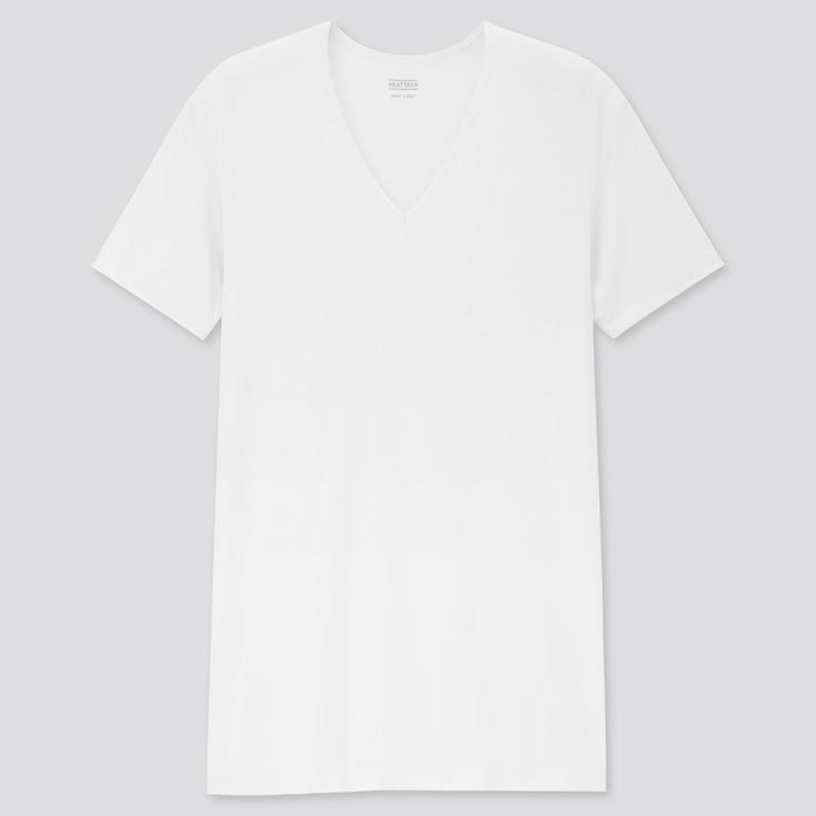 Men Heattech V-Neck Short-Sleeve T-Shirt, White, Large