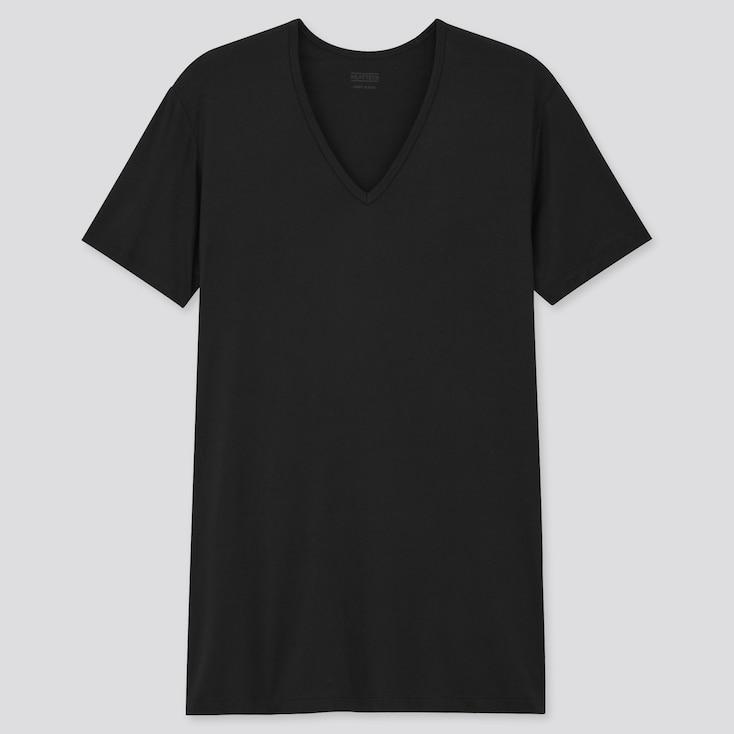 Men Heattech V-Neck Short-Sleeve T-Shirt, Black, Large
