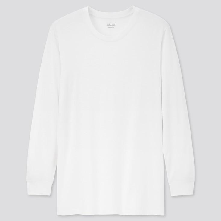 Men Heattech Crew Neck Long-Sleeve T-Shirt, White, Large
