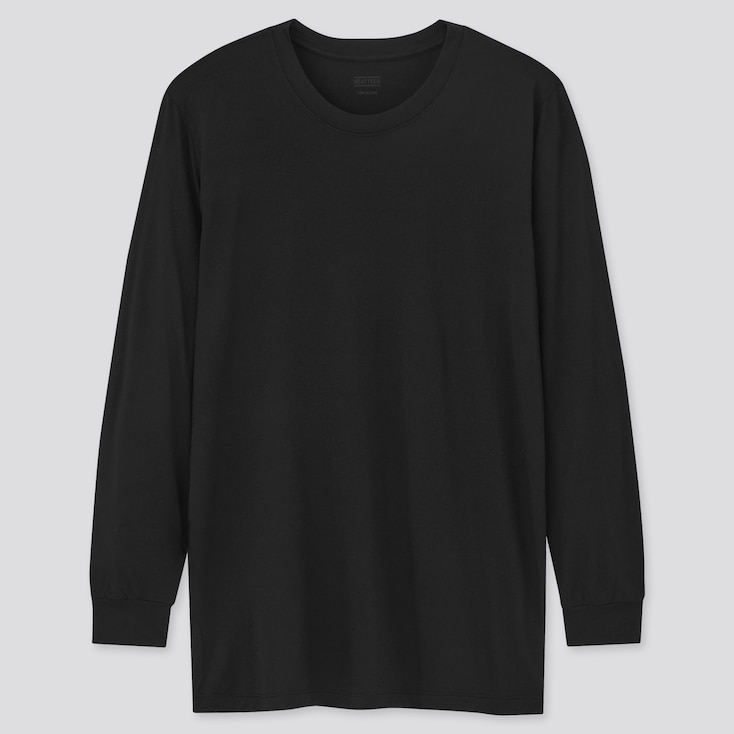 Men Heattech Crew Neck Long-Sleeve T-Shirt, Black, Large