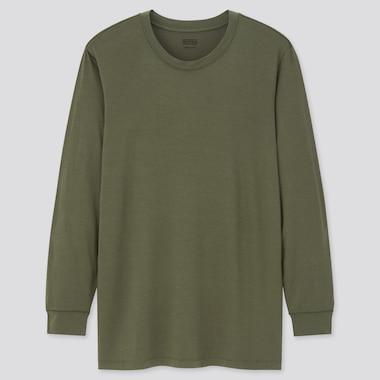 Men Heattech Crew Neck Long-Sleeve T-Shirt, Dark Green, Medium