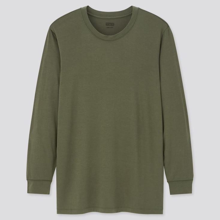 Men Heattech Crew Neck Long-Sleeve T-Shirt, Dark Green, Large