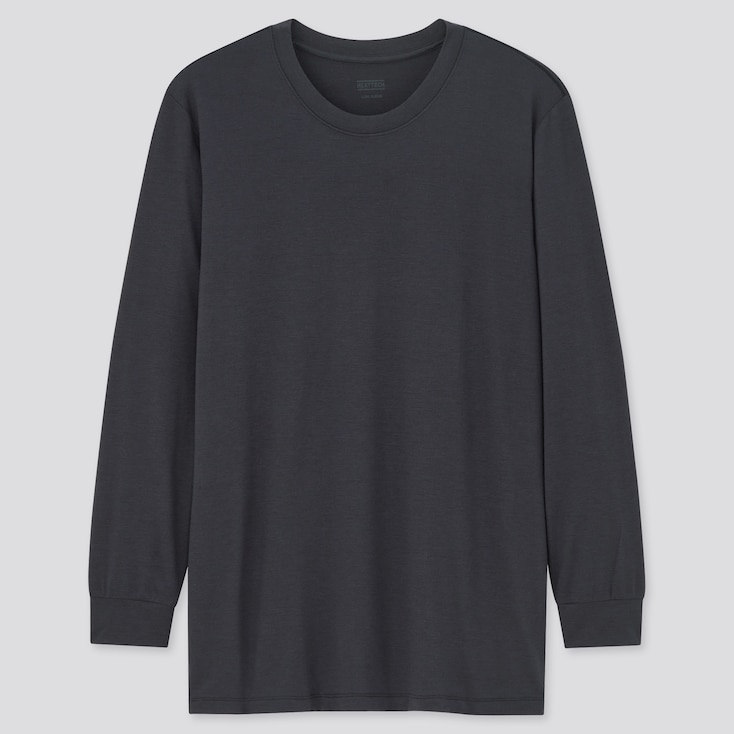Men Heattech Crew Neck Long-Sleeve T-Shirt, Navy, Large