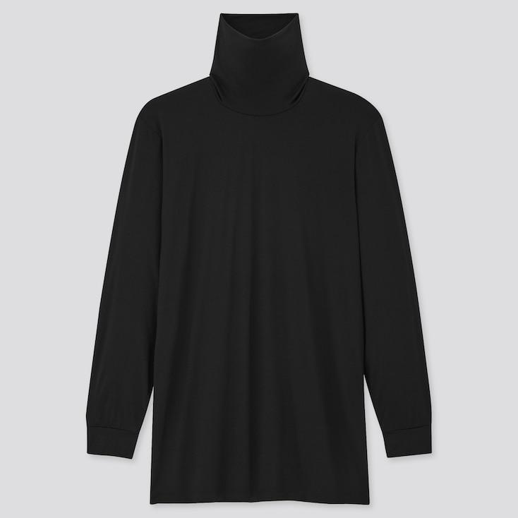 Men Heattech Turtleneck Long-Sleeve T-Shirt, Black, Large