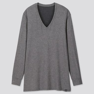 Men Heattech Extra Warm V-Neck Long-Sleeve T-Shirt, Dark Gray, Medium