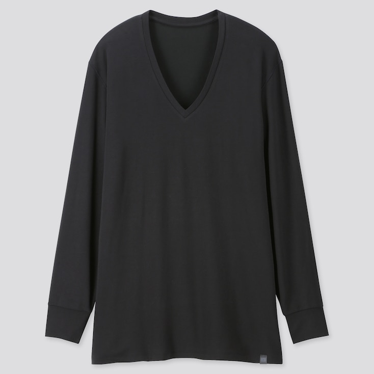 Men Heattech Extra Warm V-Neck Long-Sleeve T-Shirt, Black, Large