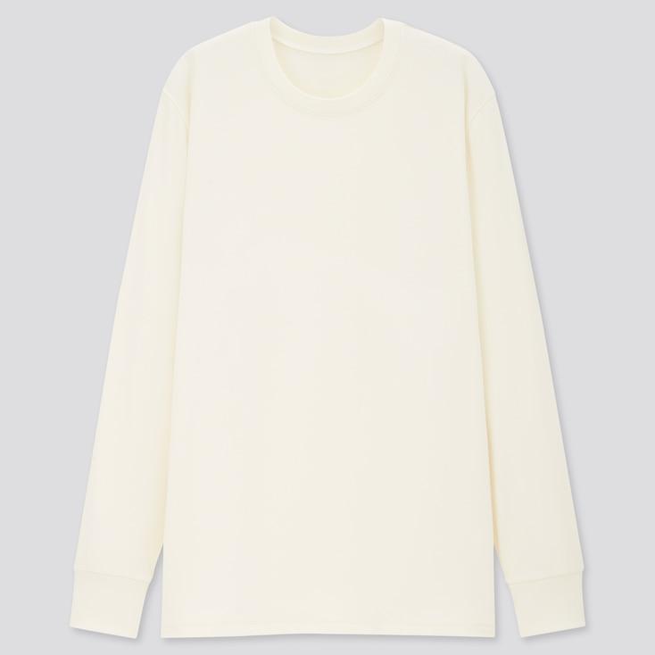 Men Heattech Ultra Warm Long-Sleeve T-Shirt, Off White, Large