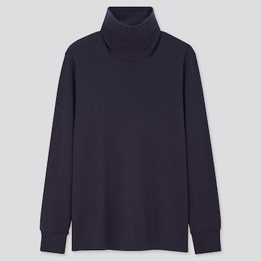 Men Heattech Ultra Warm Turtleneck Long-Sleeve T-Shirt, Navy, Medium