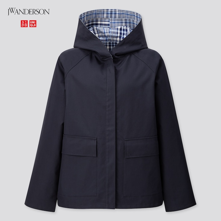 Women Cotton Reversible Parka (Jw Anderson), Navy, Large