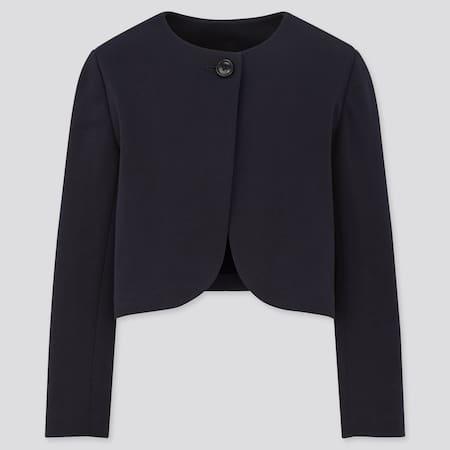 Girls Collarless Cropped Blazer Jacket