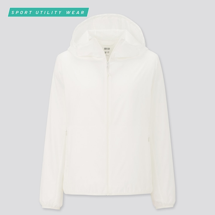 Women Pocketable Uv Protection Parka, Off White, Large