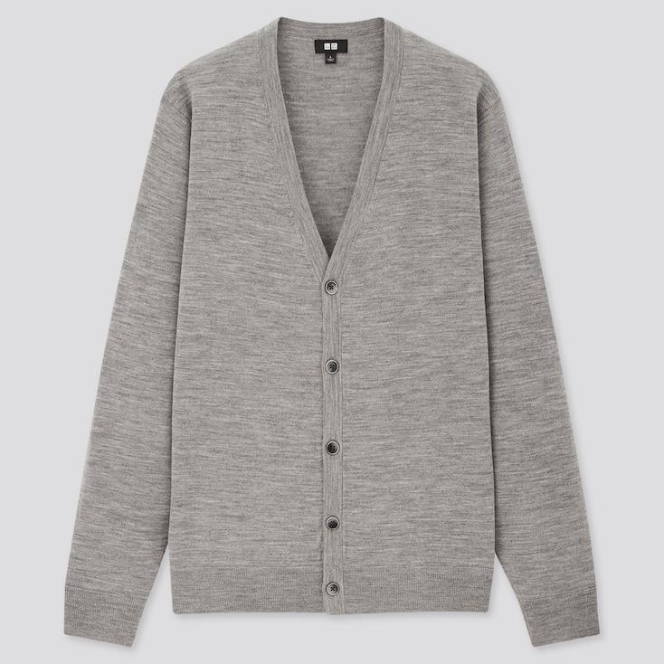 Men Extra Fine Merino V-Neck Long-Sleeve Cardigan, Gray, Large
