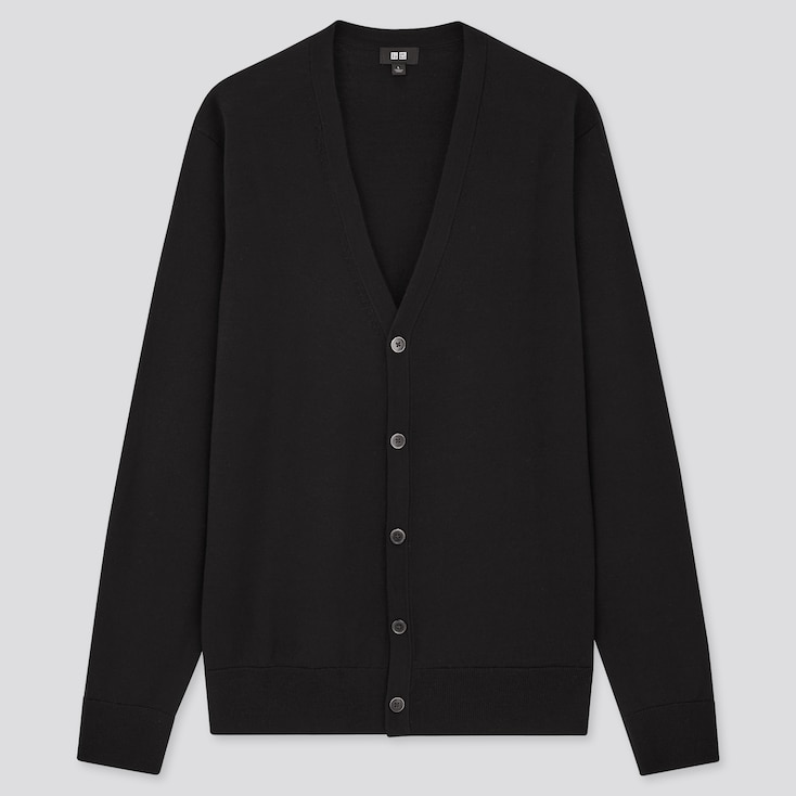 Men Extra Fine Merino V-Neck Long-Sleeve Cardigan, Black, Large