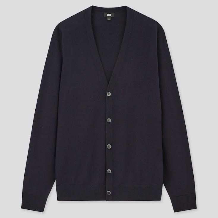 Men Extra Fine Merino V-Neck Long-Sleeve Cardigan, Navy, Large