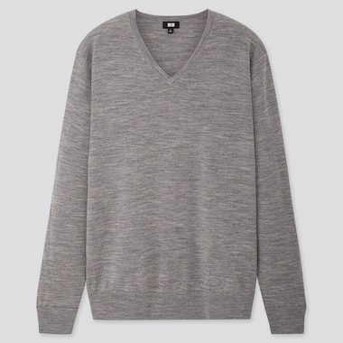 Men Extra Fine Merino V-Neck Long-Sleeve Sweater, Gray, Medium