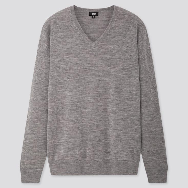 Men Extra Fine Merino V-Neck Long-Sleeve Sweater, Gray, Large