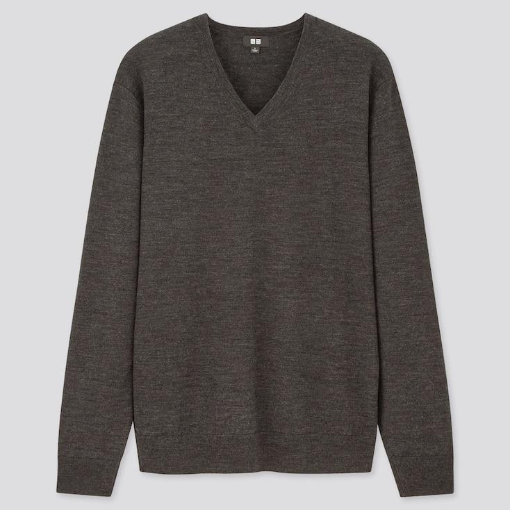 Men Extra Fine Merino V-Neck Long-Sleeve Sweater, Dark Gray, Large