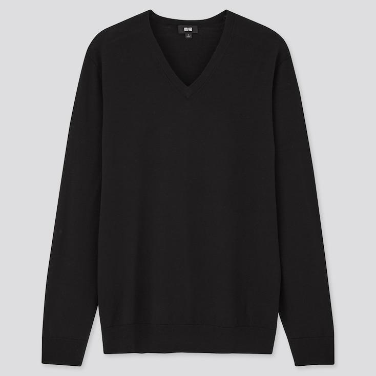 Men Extra Fine Merino V-Neck Long-Sleeve Sweater, Black, Large
