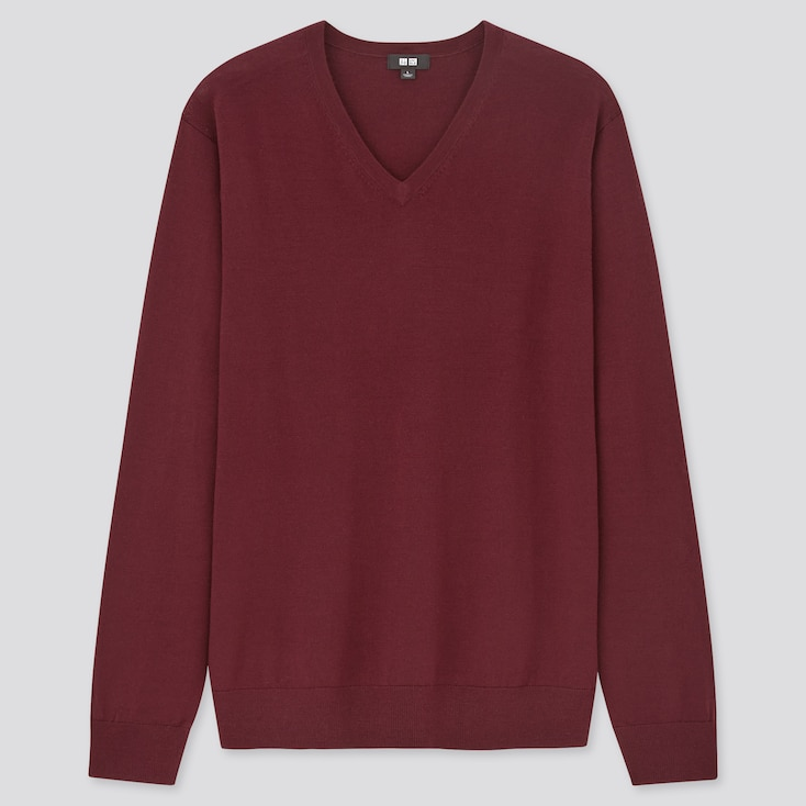 Men Extra Fine Merino V-Neck Long-Sleeve Sweater, Wine, Large