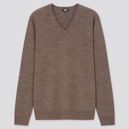 Men 100% Extra Fine Merino Wool V Neck Jumper
