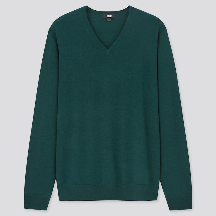 Men Extra Fine Merino V-Neck Long-Sleeve Sweater, Green, Large