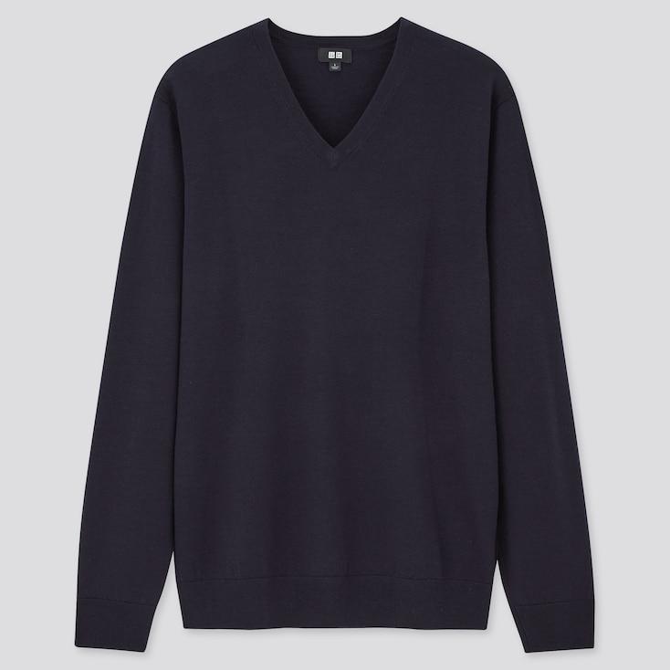 Men Extra Fine Merino V-Neck Long-Sleeve Sweater, Navy, Large