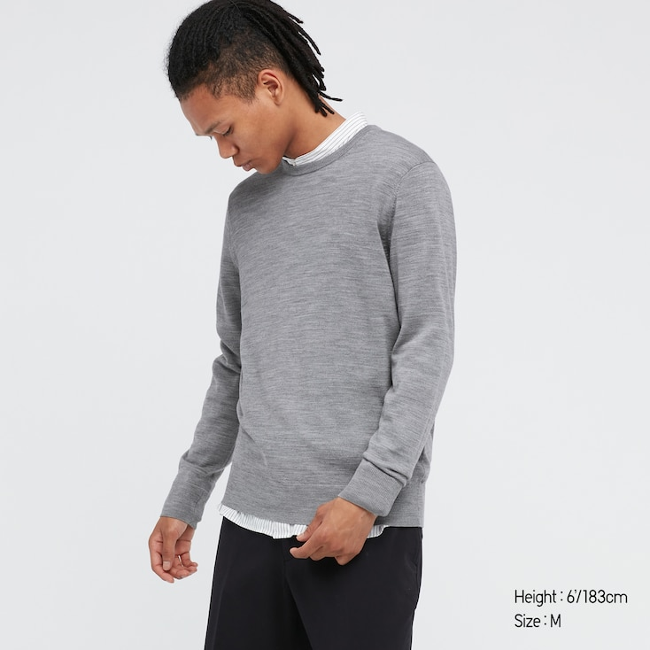 Men Extra Fine Merino Crew Neck Long-Sleeve Sweater, Gray, Large