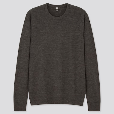 Men 100% Extra Fine Merino Wool Crew Neck Jumper