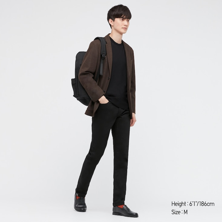 Men Extra Fine Merino Crew Neck Long-Sleeve Sweater, Black, Large