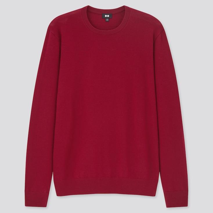 Men Extra Fine Merino Crew Neck Long-Sleeve Sweater, Red, Large