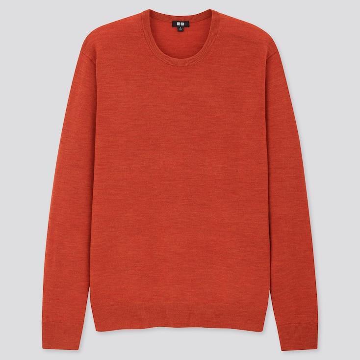 Men Extra Fine Merino Crew Neck Long-Sleeve Sweater, Orange, Large