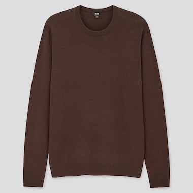 Men Extra Fine Merino Crew Neck Long-Sleeve Sweater, Dark Brown, Medium