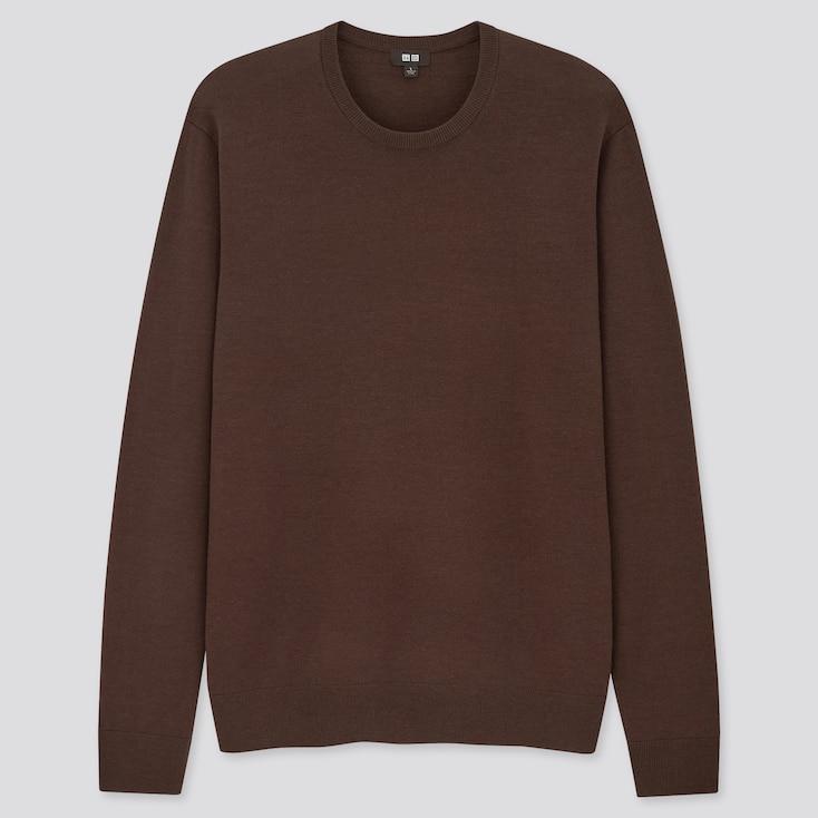 Men Extra Fine Merino Crew Neck Long-Sleeve Sweater, Dark Brown, Large