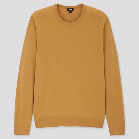 Men 100% Extra Fine Merino Wool Crew Neck Jumper