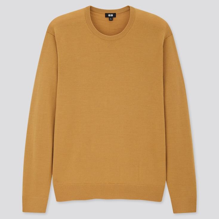 Men Extra Fine Merino Crew Neck Long-Sleeve Sweater, Yellow, Large