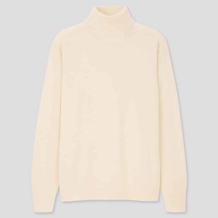 Men Extra Fine Merino Turtleneck Long-Sleeve Sweater, Off White, Large