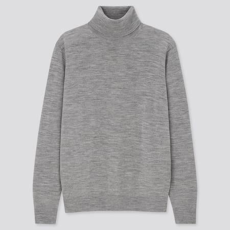 Men 100% Extra Fine Merino Wool Turtleneck Jumper