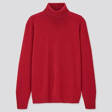 Men Extra Fine Merino Turtleneck Long-Sleeve Sweater, Red, Medium