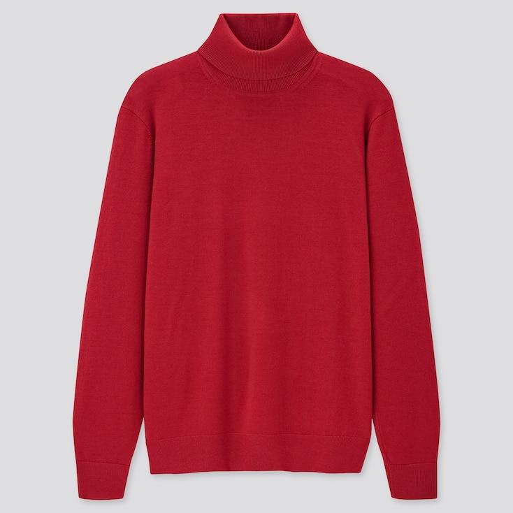 Men Extra Fine Merino Turtleneck Long-Sleeve Sweater, Red, Large