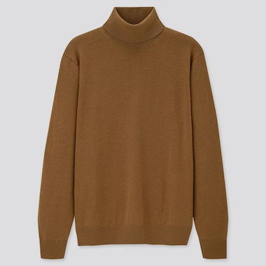 Men 100% Extra Fine Merino Wool Turtleneck Jumper