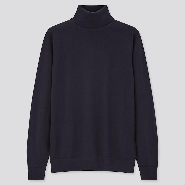 Men Extra Fine Merino Turtleneck Long-Sleeve Sweater, Navy, Large