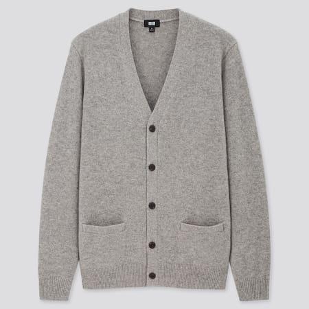 Herren Premium Lammwolle Strickjacke mit V-Ausschnitt