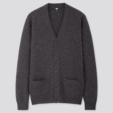 Men Premium Lambswool V Neck Cardigan