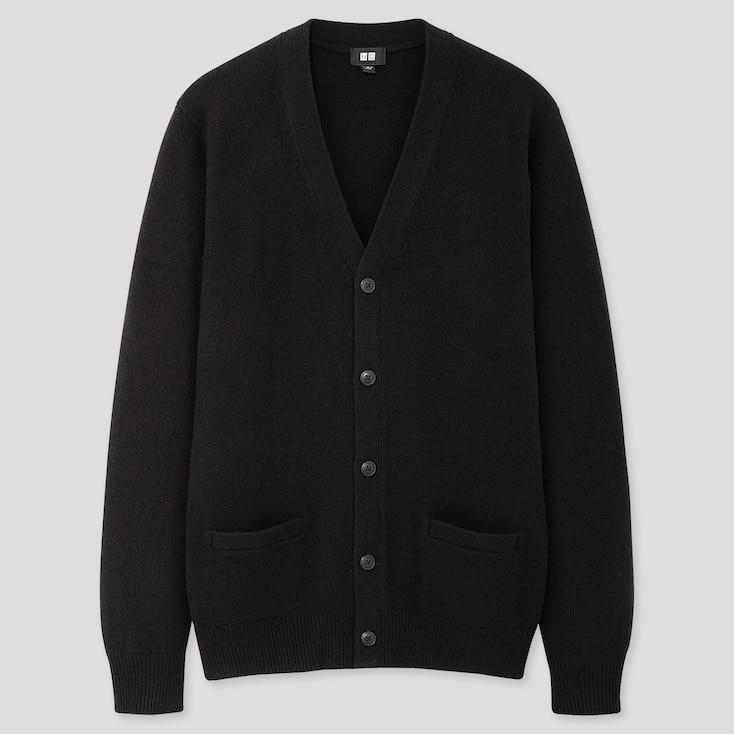 Men Premium Lambswool V-Neck Long-Sleeve Cardigan, Black, Large