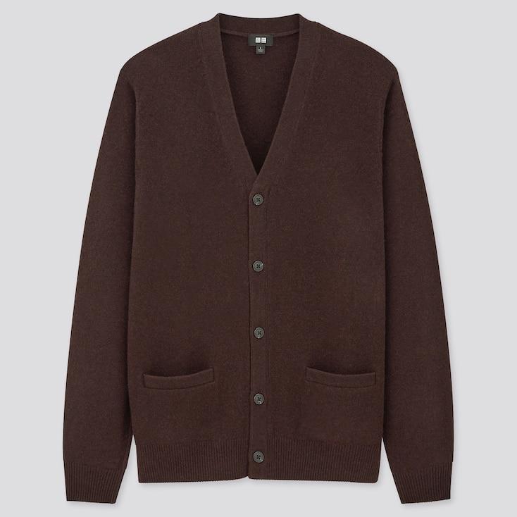 Men Premium Lambswool V-Neck Long-Sleeve Cardigan, Dark Brown, Large