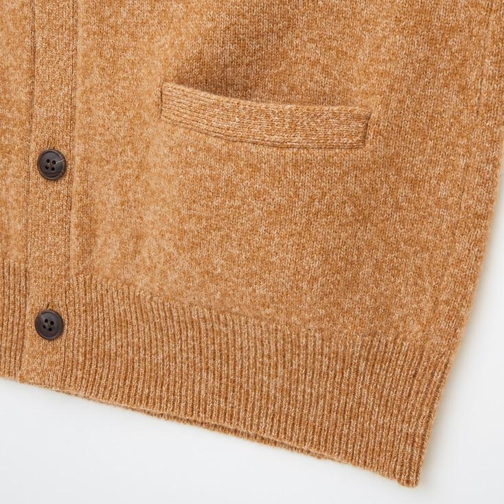 Men Premium Lambswool V-Neck Long-Sleeve Cardigan, Brown, Large