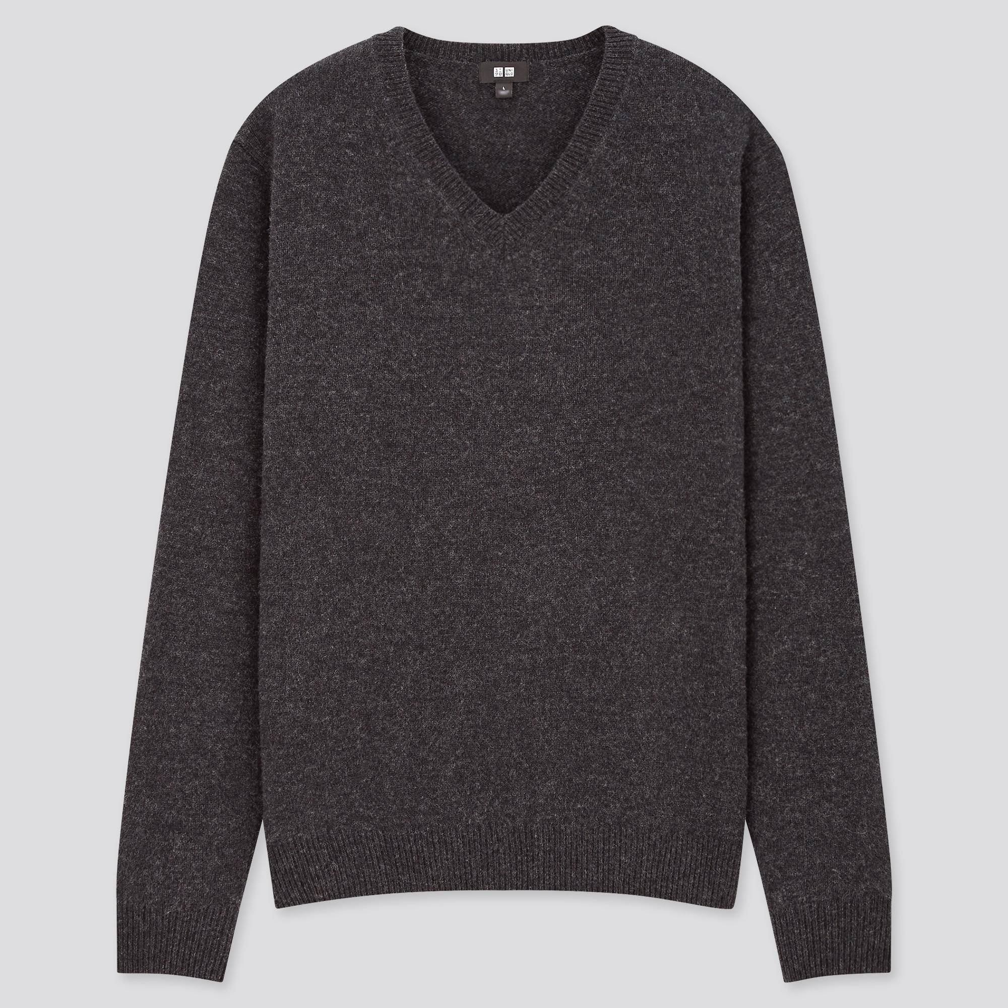 men premium lambswool v-neck long-sleeve sweater