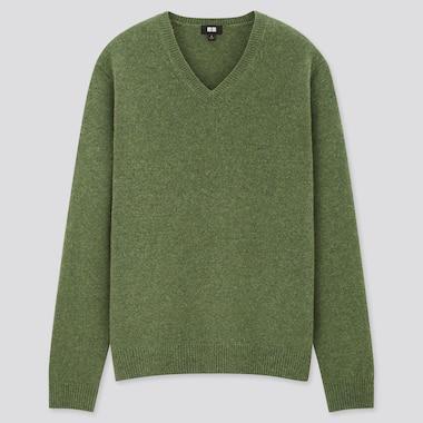 Men Premium Lambswool V-Neck Long-Sleeve Sweater, Green, Medium
