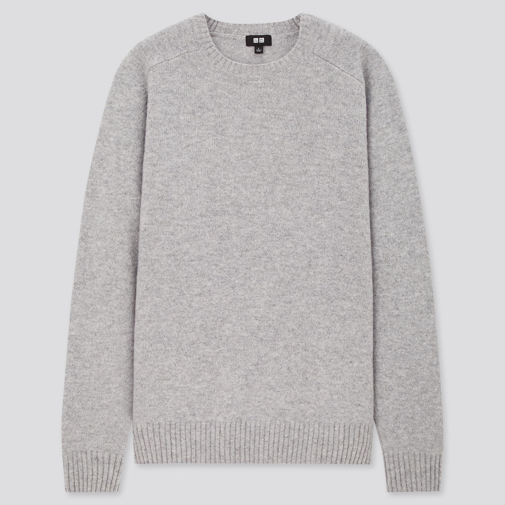 men premium lambswool crew neck long-sleeve sweater