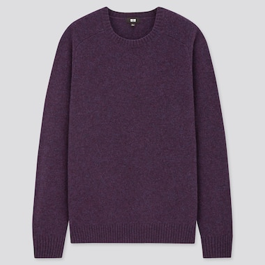 Men Premium Lambswool Crew Neck Long-Sleeve Sweater, Purple, Medium